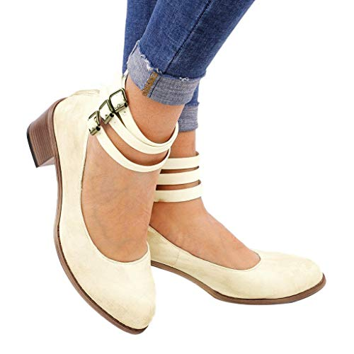 da20da4c645 Gyouanime Sandals Shoes Women Suqare Heels Buckle Strap Sandals Shoes Round  Toe Sandals Beige by Women