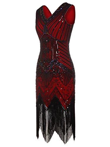 fransen COUPLE D20S003 Dunkelrot verschönert Ausschnitt FAIRY Pailletten Flapper Kleid 1920 V Strass Doppelte gdqTqPwx