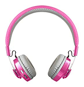 LilGadgets Untangled Pro Premium Children's / Kid's Wireless Bluetooth Headphones with SharePort (Pink)