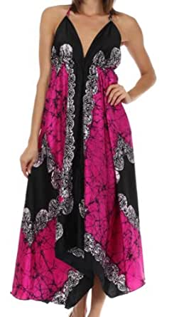Sakkas 108 Veins Print Satin V-Neck Halter Handkerchief Hem Dress - Fuchsia - One Size