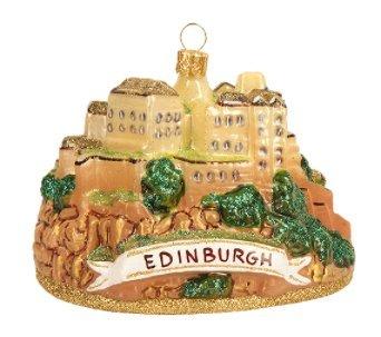 Edinburgh Castle Scotland Glass Christmas Ornament