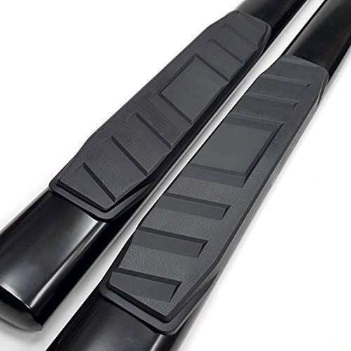UFRAME Black 5 Oval tubing Straight Side Step Nerf Bar Fits 2007-2018 GMC Sierra Chevrolet Chevy Silverado Extended Cab 2 Full Size Front Door /& 2 Half Size Rear Door Models