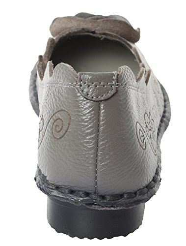 Mordenmiss Mujeres Fall Nuevo Patrón De Flores Planas Zapatos Estilo 1-gris