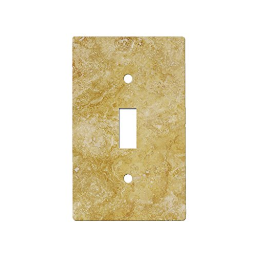 Travertine Switchplates - Gold Travertine - Decor Single Switch Plate Cover Metal