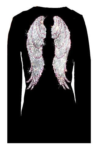 Rockeroo Boutique Pink Angel Wings Rhinestone V Neck Long Sleeve Tee Shirt (L)