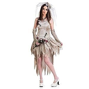 Novia de la muerte - Disfraz señora- Vestido con velo y mitones para Carnaval - S