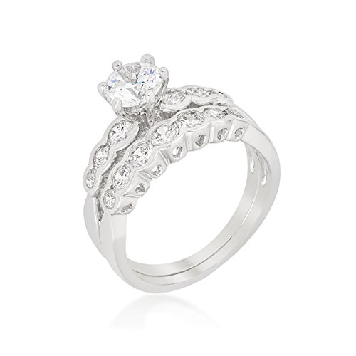 Rhodium Plated Graduated Wedding Set with Round Cut CZ Centerpiece set in Cathedral Style Size 5 from Kate Bissett
