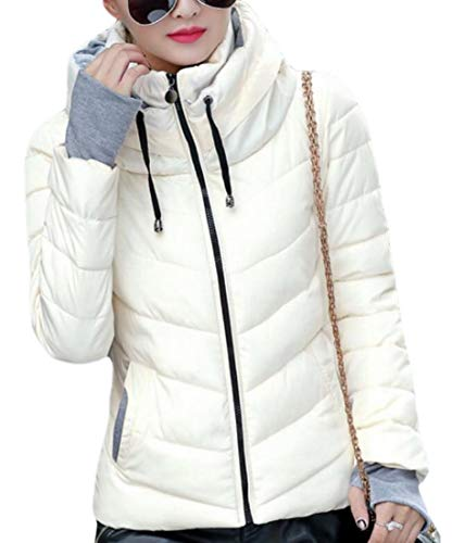 EKU Womens Lightweight Hooded Quilted Winter Puffer Outwear Down Coat White