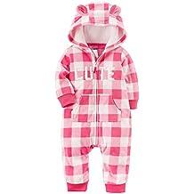 Carter's Baby Girls' One Piece Cute Checker Print Fleece Jumpsuit