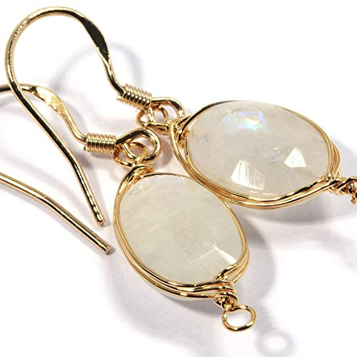Genuine Natural Gemstone Wire Wrap Dangle Drop Earrings Gold Plated 925 Sterling Silver Hook/Rainbow ()