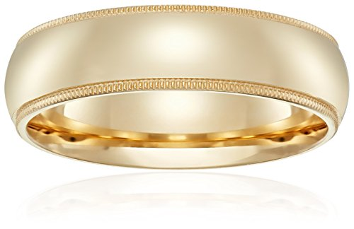 Standard Comfort-Fit 14K Yellow Gold Milgrain Band, 6mm, Size 10.5