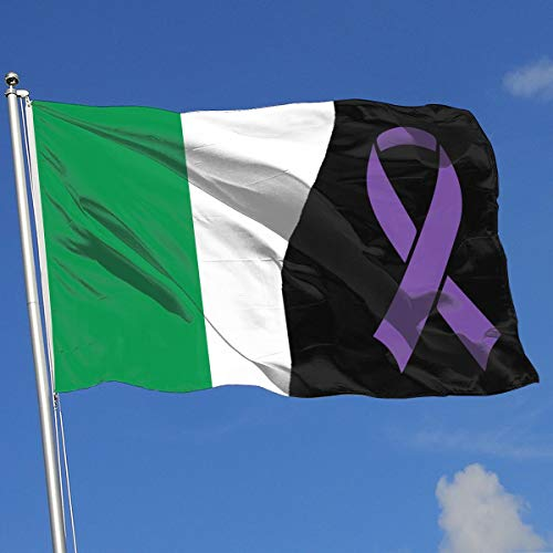 Pancreatic Cancer Awareness Ribbon Italian 100% Polyester Single Layer Translucent Flags, 3' X 5' Decorative Breeze Flag, 3 X 5 Ft / 90 X 150CM Banner