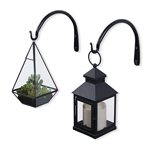 Durable Forged Wrought Iron Wall Mountable 9 Inch Curved Bracket with Hook for Planters Bird Feeders and Lanterns Set of 2 Black ()