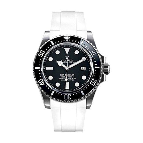 [ラバービー] RubberB ラバーベルト ROLEX シードゥエラー4000専用ラバーベルト(尾錠付き)(ホワイト)※時計は付属しません(Watch is not included)[並行輸入品]  B01I6H49JQ
