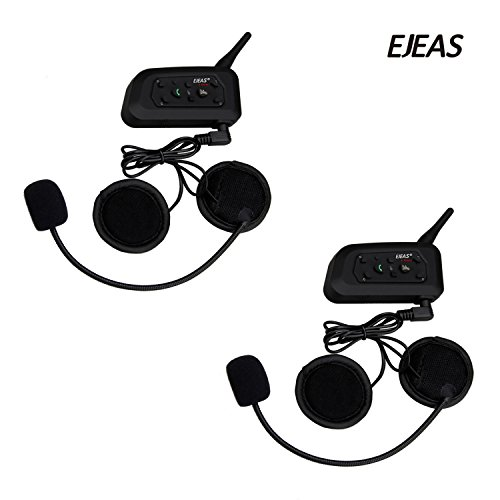 EJEAS 2 Pack V6 1200m Motorcycle Bluetooth Communication System Motocycle Intercom Headset Motorbike Interphone Up to 6 Riders for Rinding Skiing Cycling Climbing (Motorcycle Wireless Intercom System)
