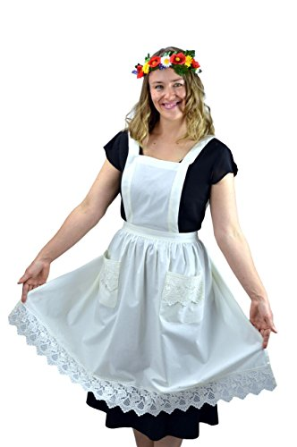 Victorian Maid Kitchen Costume (Deluxe Lace Victorian Maid Costume Ladies Full White Apron Ecru with)