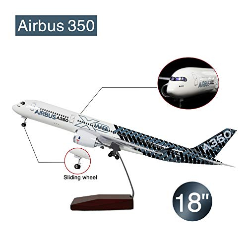 Lose Fun Park 18 Inch Airbus 350 XWB Voice-Activated LED Landing Gear Resin Diecast Aircraft Model 1:142