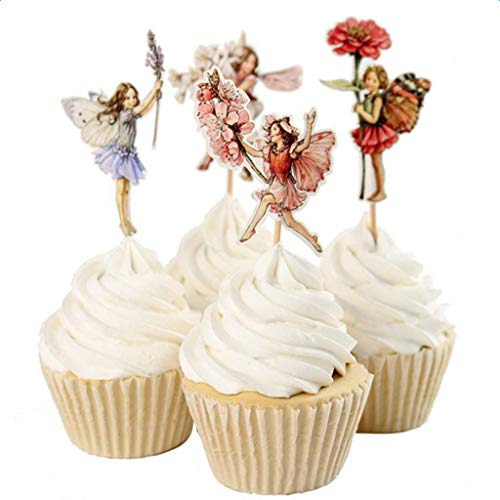 BROSCO 24pcs/Set Mixed Cute Paper Cupcake Cake Topper Picks Party Cake Decor | Item - Flower Fairy Pixie ()