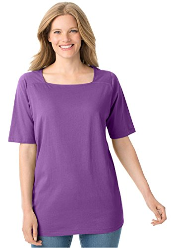Womens Plus Size Perfect Square Neck Tee Shirt Bright Violet 1X
