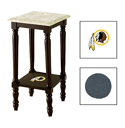 Espresso/Dark Walnut Marble Top Accent Table Featuring the Choice of Your Favorite Football Team Logo on the Bottom Shelf - FREE Coaster Included (Redskins)