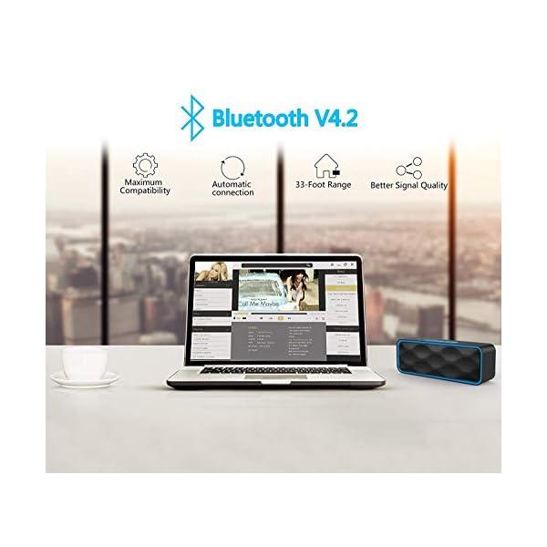 ZoeeTree S1 Haut-parleur Bluetooth sans fil, Extérieur, Enceinte stéréo avec Audio HD et Basses Amélioré, Intégré Double Pilote Haut-parleur, Bluetooth 4.2, Mains Libres Téléphone et TF - Blue 4
