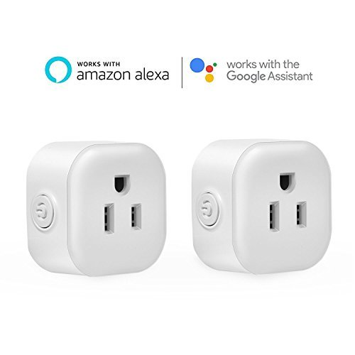 WiFi Smart Plug,EletecPro 2 Packs Mini Wireless Remote Control Timing Socket Outlet Compatible with Amazon Google Home No Hub Required (2 packs)