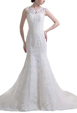 fecc230c346f Angel Formal Dresses V Neck Beading Applique Mermaid Wedding Dresses (2,Ivory)