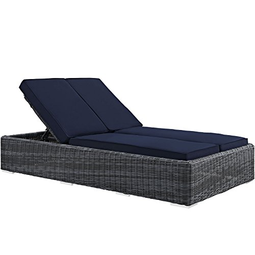 Modway Summon Outdoor Patio Double Chaise Lounge With Sunbrella Brand Navy Canvas Cushions Review