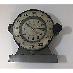 Timeworks by Uttermost J. Auricoste Replica French Navy Submarine Industrial Distressed Mantel Clock