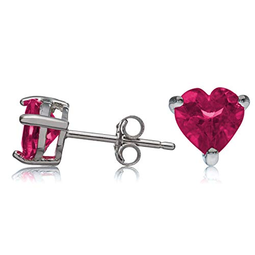 Sterling Silver Stud Earrings Ruby Heart Shape Created 6mm