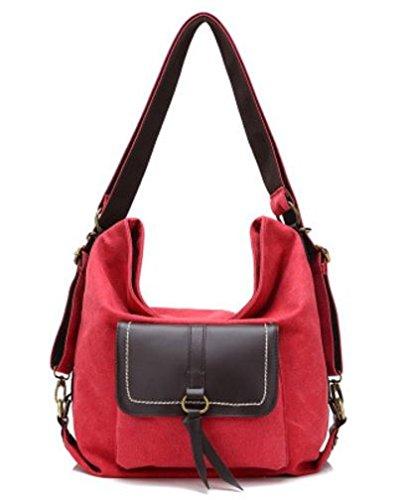 HandbagCrave® Avarie 3 in 1 Borsa Tela Sacchetto di spalla della tela di canapa / Borse a zainetto / Borsa Crossbody (rosso)
