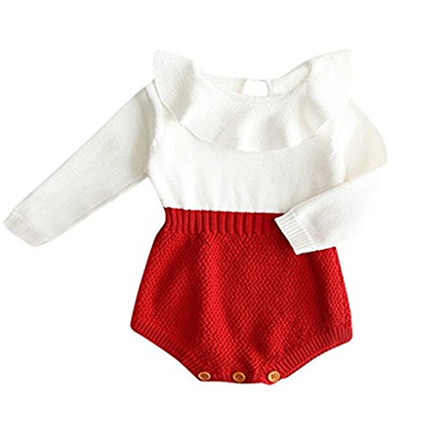 - Urkutoba Baby Girls Romper Knitted Ruffle Long Sleeve Jumpsuit Baby Kids Girl Romper Autumn Winter Casual Clothing (12-18 Months, Red)