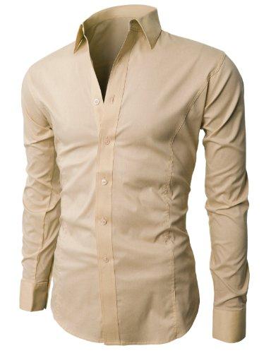 H2H Men's Wrinkle Free Slim Fit Dress Shirts