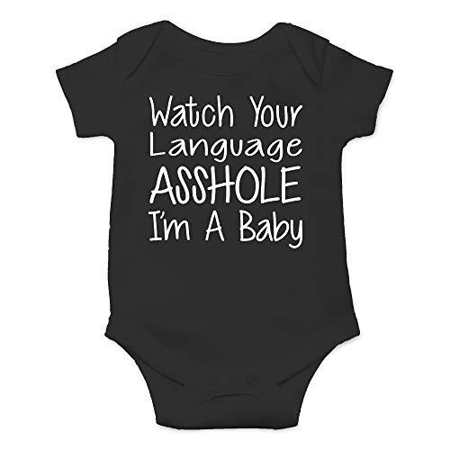 CBTwear Watch Your Language I'm A Baby Funny Romper Cute Novelty Infant One-Piece Baby Bodysuit (6 Months, Black) for $<!--$11.85-->