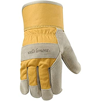 Wells Lamont Leather Work Gloves with Safety Cuff, Suede Cowhide Palm, Womens, Small (4113S)