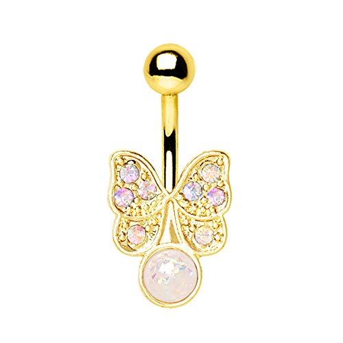 Gold Plated Stainless Steel Belly Button Ring - 7