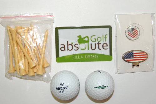 Precept 48 Mixed Recycled Golf Balls Grade C With Free Tee's and Magnetic American Flag Golf Ball Marker/Hat Clip