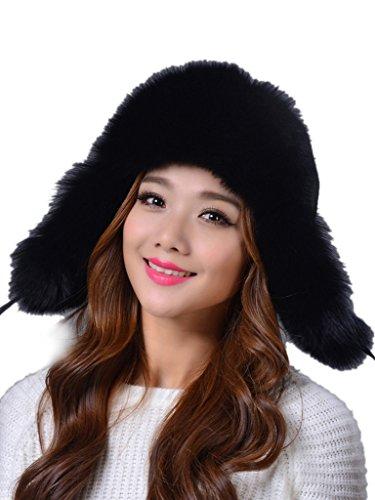 LITHER Women's Winter Trapper Bomber Hat Genuine Fox Raccoon Fur Russian Ushanka Hat