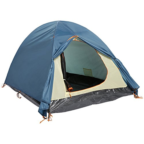 2-Person Dual Layer Camping Hiking 2-Pole Freestanding Dome Tent (Blue)