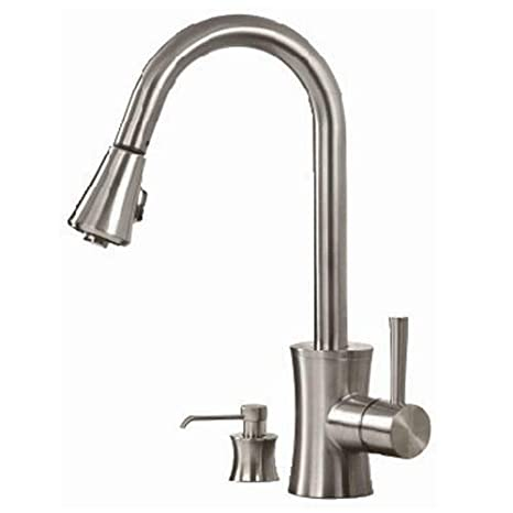 Incredible Pegasus Fp0A5012Bnv Luca Pull Out Spray Kitchen Faucet With Soap Dispenser Brushed Nickel Beutiful Home Inspiration Semekurdistantinfo