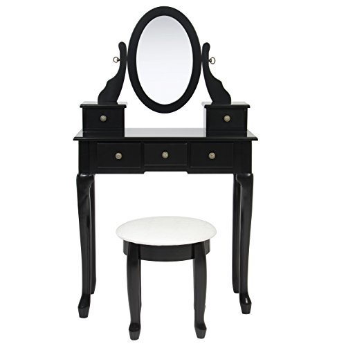 Bathroom Vanity Table Jewelry Makeup Desk Bench Drawer Hair Dressing Organizer by Best Choice Products