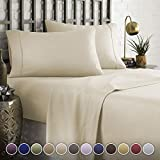 HC COLLECTION Hotel Luxury Comfort Bed Sheets Set, 1800 Series Bedding Set, Deep Pockets, Wrinkle & Fade Resistant, Hypoallergenic Sheet & Pillow Case Set(Cal King, Cream)