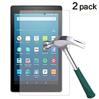 Fire HD 8 Screen Protector,TANTEK Anti Scratch,Bubble Free,Tempered Glass Screen Protector for Amazon Fire HD 8 (6th Gen-2016),[2-Pack]