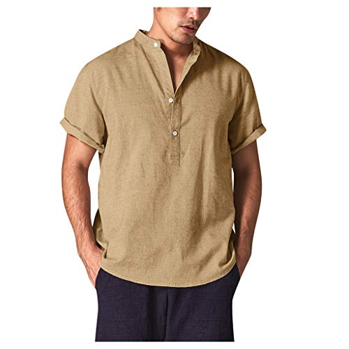 Polo Shirt for Men, F_Gotal Men's T-Shirts Fashion Short Sleeve Breathable Cotton and Linen Buttons Shirts Blouse Tops