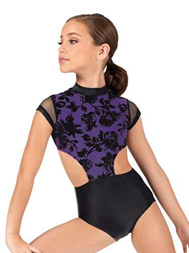 (Girls Burnout Velvet Open Side Short Sleeve Leotard ELA1CPUBKS Purple/Black Small)