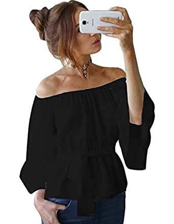 Zhaoyun Womens Off Shoulder Shirt Strapless Blouses Chiffon Casual Tops Black-S