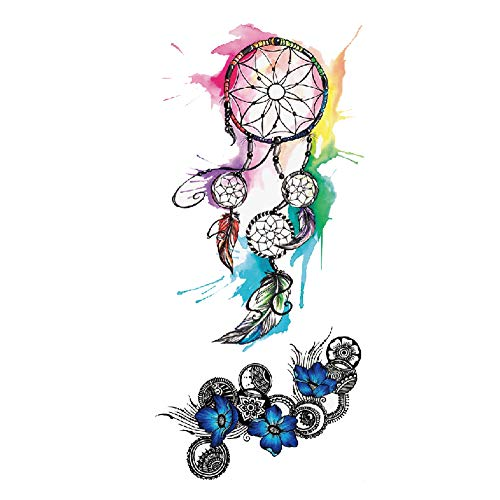 TAFLY Waterproof Temporary Tattoos Stickers Dream catcher Tattoo Water Transfer Tattoos Fake Tattoos for Women 5 Sheets