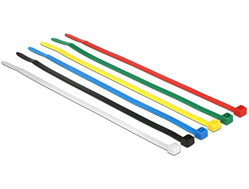 Delock Cable ties coloured L 200 x W 3.6 mm 100 pieces nylon non-reusable 18626