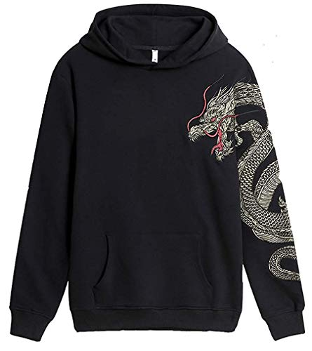 (FLYCHEN Men's Fashion Embroidered Cotton Hoodies Unisex Pullover Sweatshirt Dragon US L(Tag 2XL))