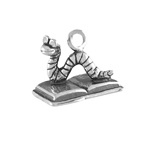 Sterling Silver 3D Child's Book Worm Charm Item #42817